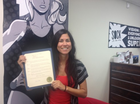 Carrie with proclamation
