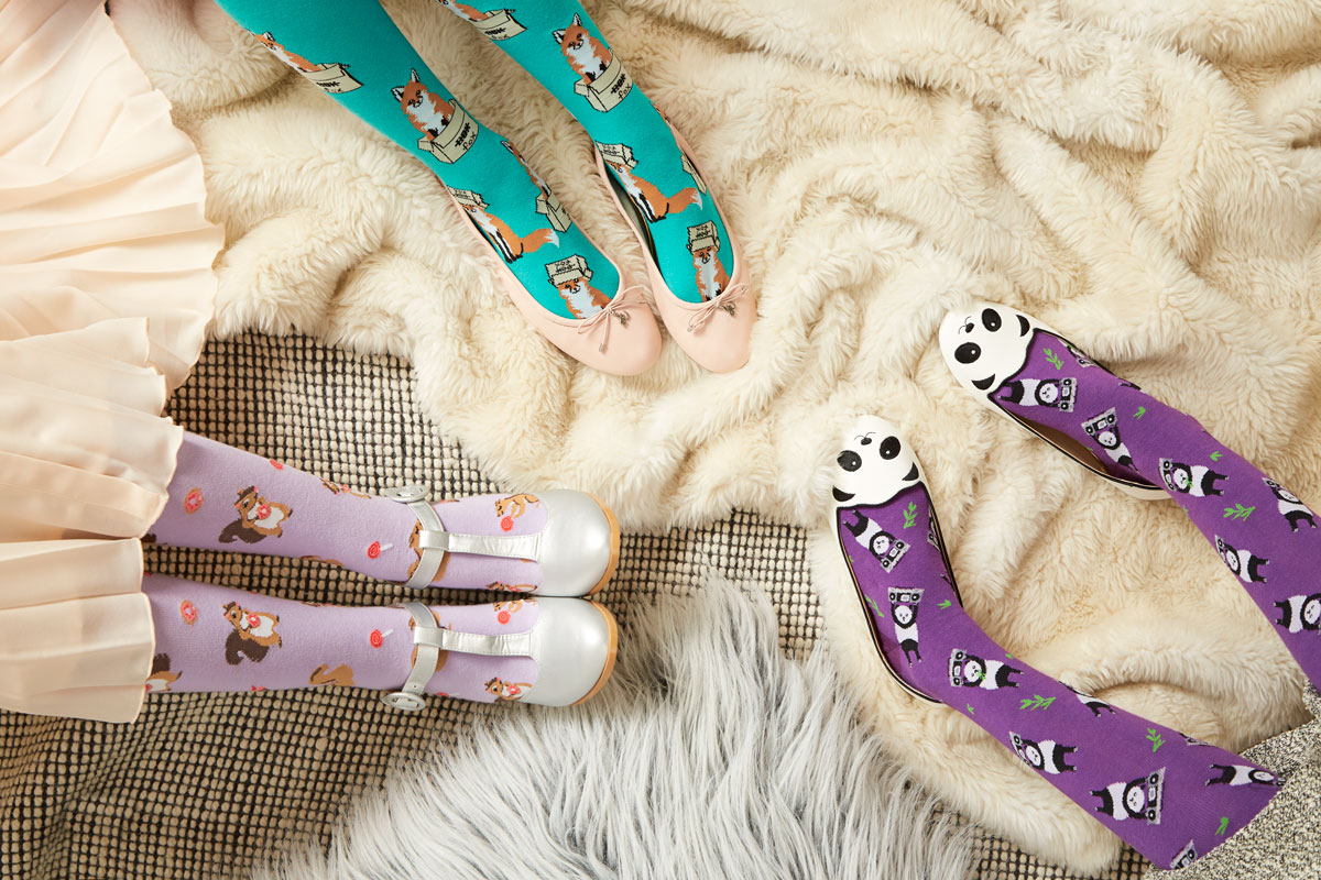 Squirreling Around Knee High Sock for Women F0397, Foxes in Boxes Knee High Sock for Women F0401, Panda Anything Knee High Sock for Women F0392