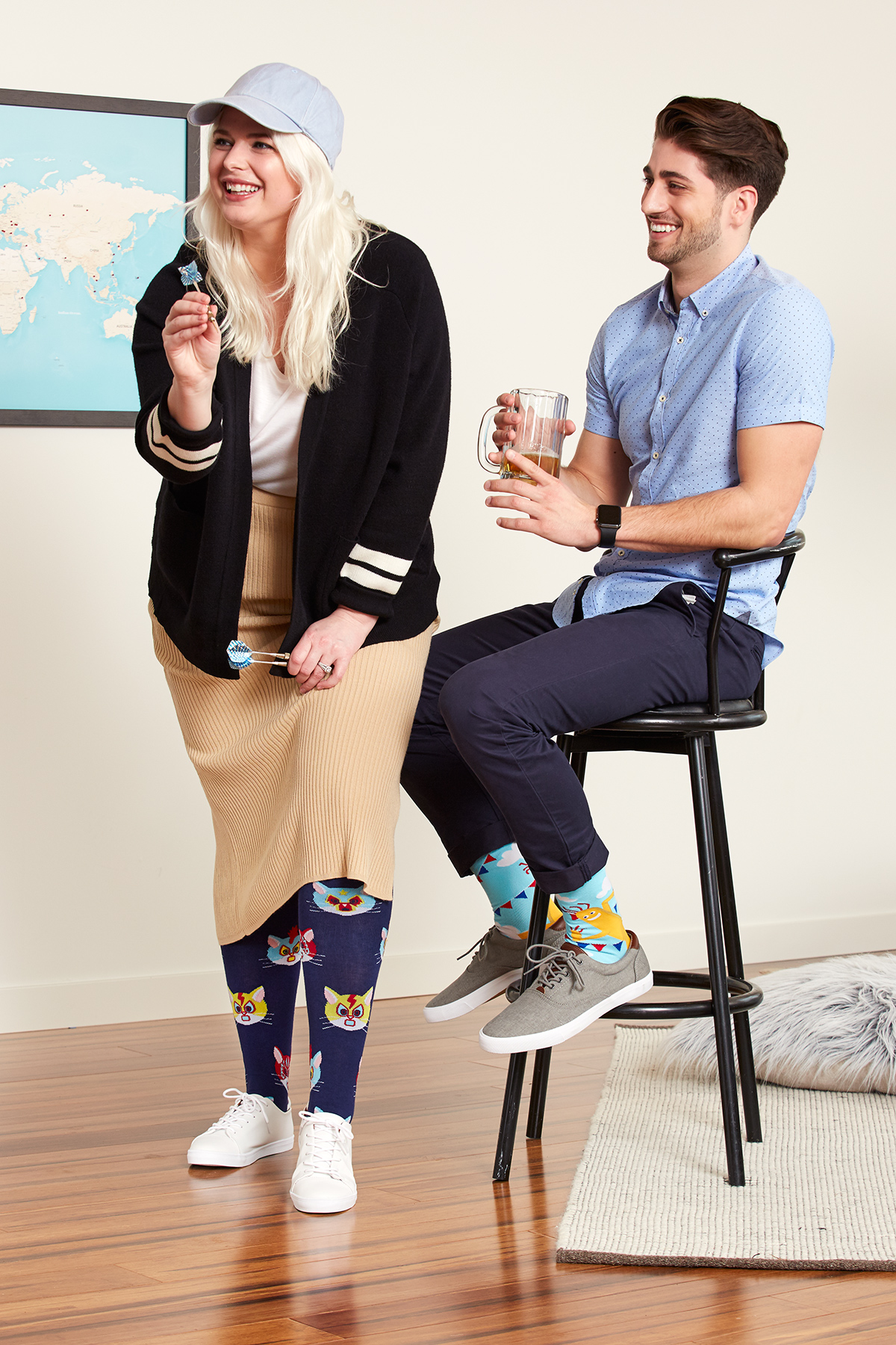 Gato Libre STRETCH-IT™ Knee High Sock for Men and Women S0051, The Ecstasy of Mr. Wavy Arms Crew Sock for Men MEF0273