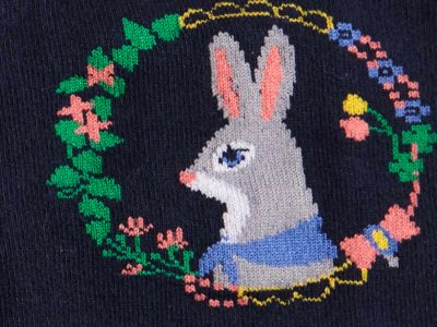 Autumn Hare Sock Detail