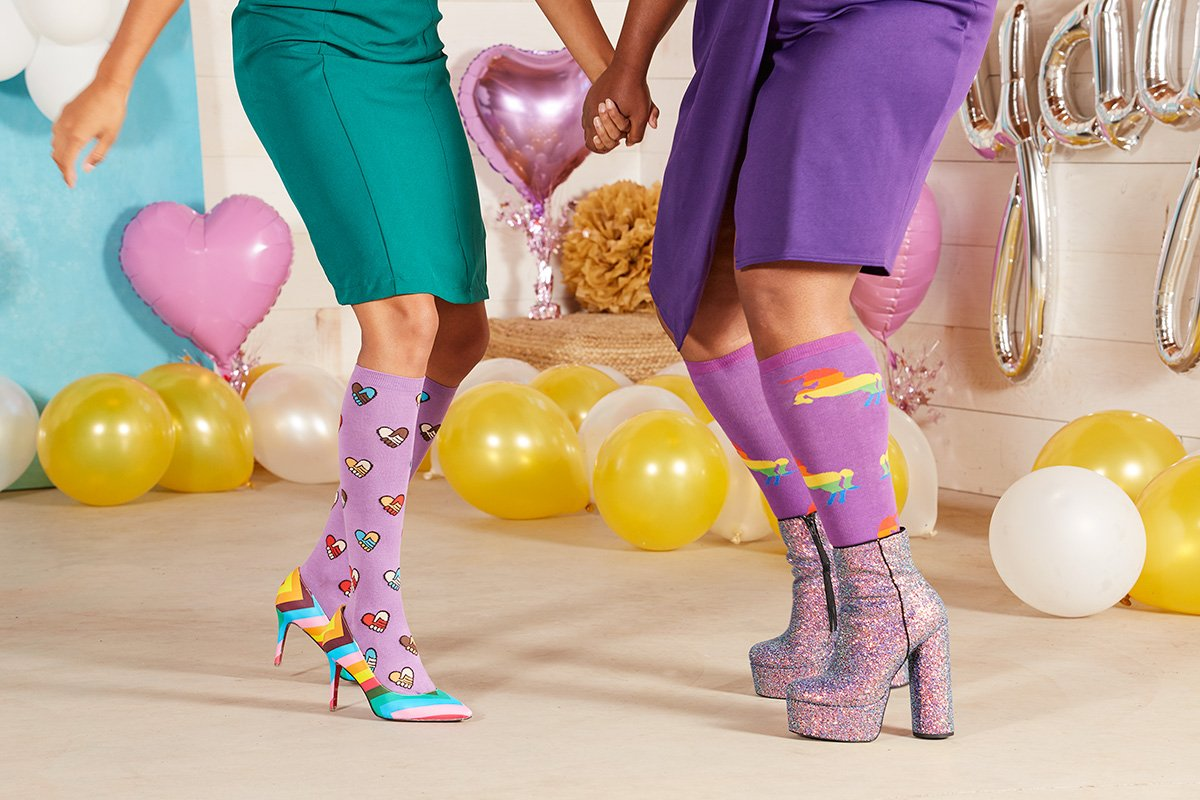 Hands Across Calves Knee High Socks for Women F0404, Pride & Fabulous STRETCH-IT™ Knee High Socks for Women and Men S0054.