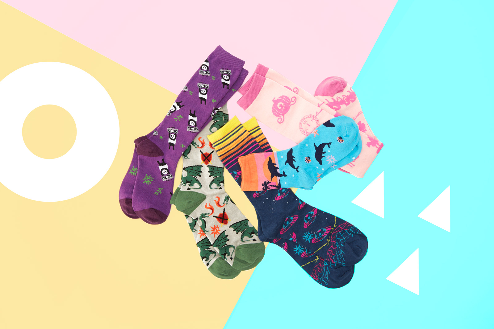 Panda Anything Knee High Socks for Junior JK0055, Beware of Dragons Crew Socks for Men MEF0296, Intergalactic Crew Socks for Men MEF0292, Dancing Dolphin Crew Socks for Women W0117, Happily Ever After Knee High Socks for Women F0419.