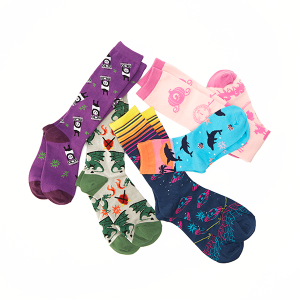 New fantasy and gaming socks for women, men, and kids featuring pandas, dragons, dolphins, spaceships, and a cinderella story.