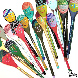 Sock It to Me Cool Girl Julz Nally personal art: colored spoons with positive messaging.