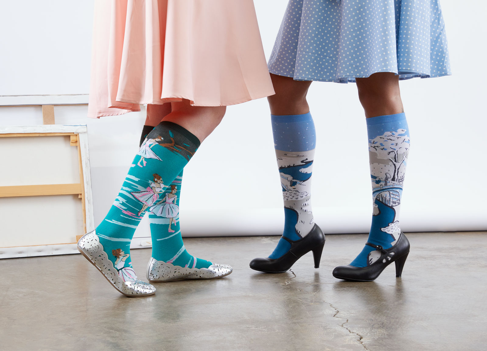 socks based on a painting by degas and a japanese woodblock carving