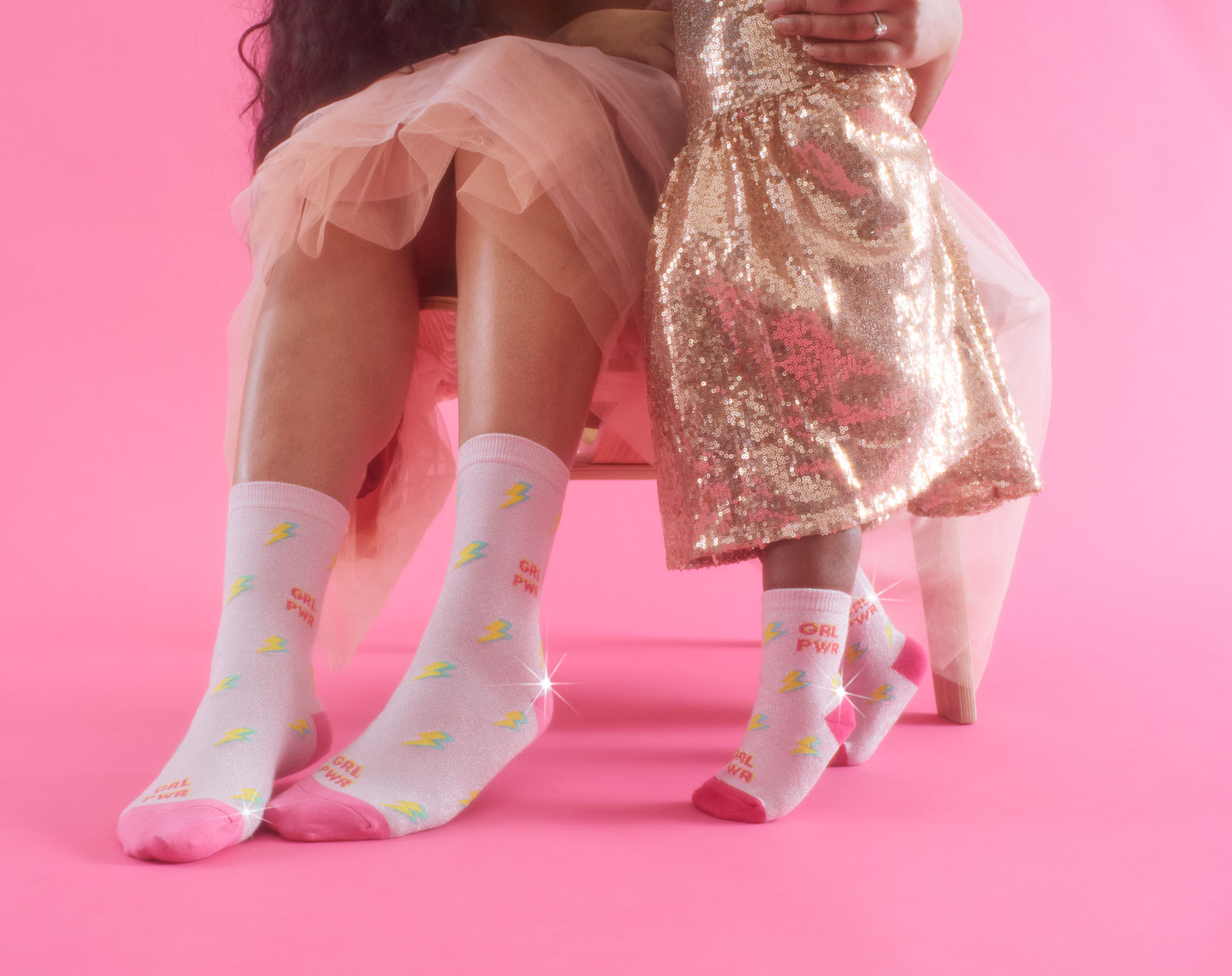 shimmering pink socks that summon your girl power