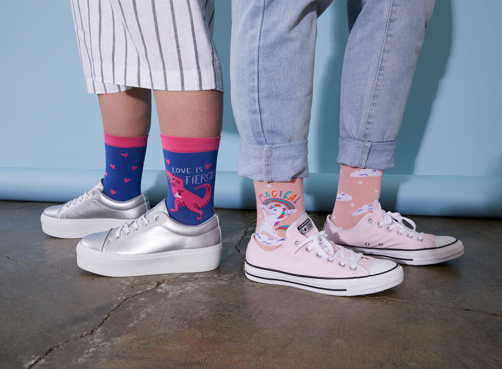 two pairs of socks made in collaboration with hello!lucky