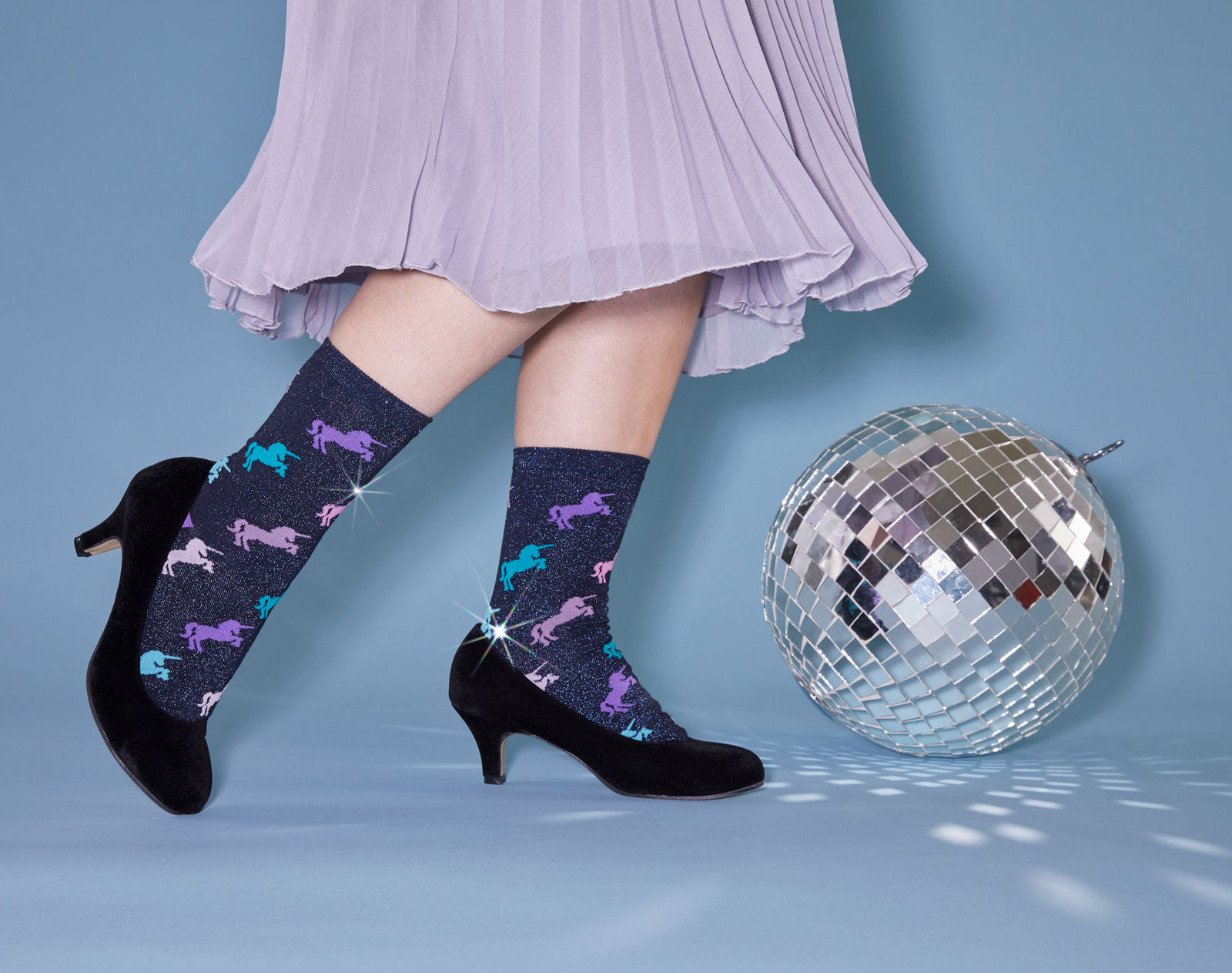 shimmering socks with multicolored unicorns