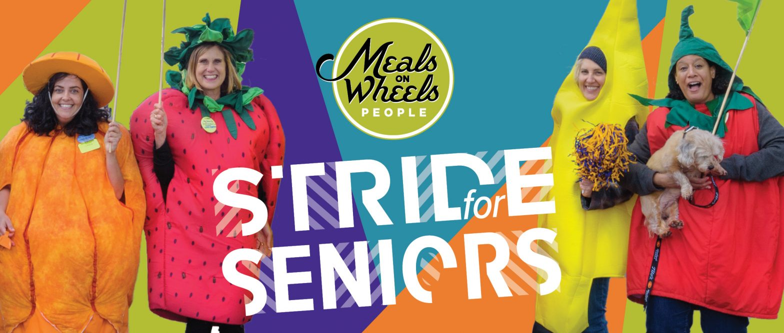 """Meals on Wheels People """"Stride for Seniors"""" event, with for humans in fruit costumes"""